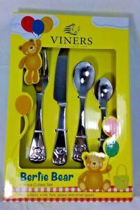 🔥 Viners Bertie Bear Stainless Steel Cutlery Set 4 Children Kids Gift