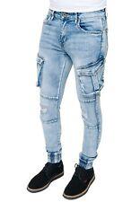 Jeans uomo elasticizzato cargo Denim Pantaloni slim fit con tasche laterali