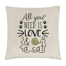 All You Need Is Love And A Cat Linen Cushion Cover Pillow - Funny Crazy Lady
