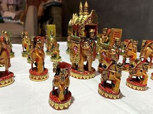 Hand Carved Chess Set Solid Wood Kings Royals Soldiers Army Elephants Animals