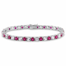 Amour Sterling Silver Created White Sapphire and Ruby Tennis Bracelet