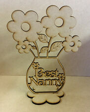 Best Nanny Wood Flower pot with flowers. Home decor, Gift, Craft.