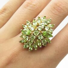 925 Sterling Silver Gold Plated Real Green Peridot Gemstone Ring Size 8