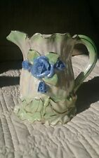 Vintage Creamer Pitcher, Pale Irridescent Green with Blue 3-D Flowers