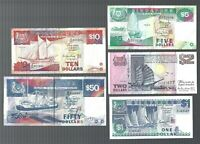 Singapore $1, $2, $5 $10 & $50 SHIP series 5 pieces lot