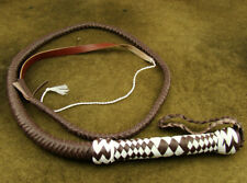 HEAVY DUTY BULL WHIP HUNTER BROWN AND WHITE PU LEATHER 4 FOOT LONG BRAND NEW(208
