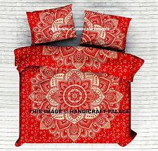 Red Gold Ombre Mandala King Size Duvet Quilt Cover Indian Bedding Set Reversible