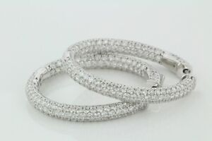 6.50 Carats Pave Set Round Cut In Side Out Diamond Hoop Earrings 14k White Gold