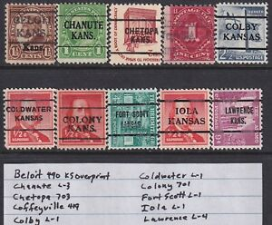 10 Different Kansas $1.00 Types CV $10.00