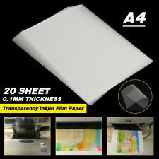 20 Sheets Clear A4 Inkjet Label Transparency Film Paper Screen Printing Paper UK
