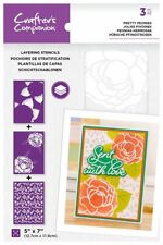 "Crafter's Companion ~ Layering Stencils ~ 3 piece ~ 5x7"" ~ Pretty Peonies"