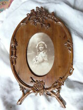 ANTIQUE HAND CARVED w/ roses PICTURE FRAME WALNUT