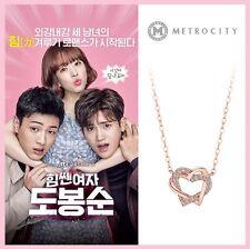 "METROCITY) 14K Drawing Love Necklace ""Dobongsoon"" Korea Drama Pink Gold 0888ggn"