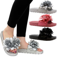 Ladies Women Summer Beach Espadrilles Flower Slip On Sliders Mules Sandals Shoes