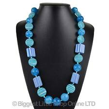 NEW Ladies Chunky Statement Blue Long NECKLACE Stylish Holiday Classic Sweeties