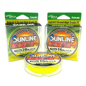 SUNLINE MOMENTUM 4X4 PE X8 Braided Fising Line 150m Fluo. Yellow #1 #1.2 Japan