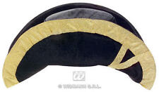 Black & Gold Terciopelo Bicorn Hat Gorra Sombrero Pirata Ciudad pregonero Fancy Dress