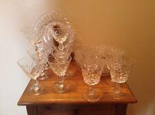 19 pcs antique fine crystal 8 plates 11 wine beverage pedestal glasses 2 sizes