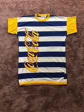 RARE 70's 80's Mens Vintage Striped Coca Cola Shirt Yellow And Blue OSF or XL