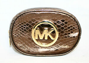 New MICHAEL KORS Small Zip Makeup Cosmetic Bag Brass Snake Embossed Leather