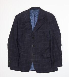 Gieves & Hawkes Mens Blue Plaid  Jacket Suit Jacket Size L