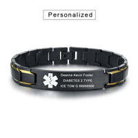 Personalized Free Engraving Medical Alert ID Men Bracelet Chain Stainless Steel