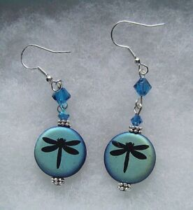 COLOR CHANGING DRAGONFLY GLASS EARRINGS