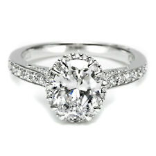 Engagement Wedding Ring In 925 Sterling Silver 1 Ct Oval Cut White Diamond Halo