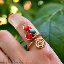Coral Turquoise Agate Crystals Wire Wrapped Ring Any Size Artisan Jewelry