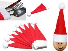 Weihnachtsmütze - Dekoration als Besteckhalter, Eierwärmer, Flaschendeko Inh. 10