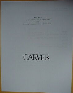 CARVER TUNER MODEL TX-11 OPERATOR'S MANUAL 20 Pages