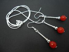 Una plata había plateado rojo collar y pendiente conjunto de Cornalina. Nueva.
