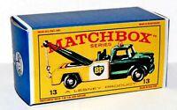 Matchbox Lesney No 13  DODGE WRECK TRUCK  GREEN CAB empty Repro Box style E
