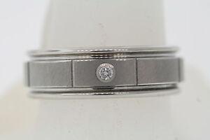 Triton 8mm White Tungsten Diamond Satin Brick Center Grooved Edge Band Ring