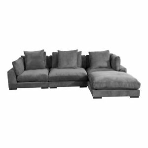 """130"""" W Modular Sectional with Right Lounge Modern Grey Corduroy Solid Wood Frame"""