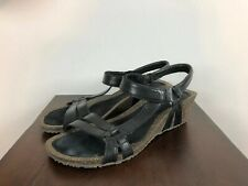TEVA Black Leather Strap Ventura Cork Wedge Sandals Heel Women's Sz 9 EXCELLENT!