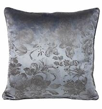 """FLORAL VELVET PIPED SILVER GREY GRAPHITE 17"""" - 43CM CUSHION COVER"""