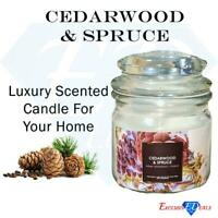 Home Fragrance Scented Candle Jar Cedarwood & Spruce Long Lasting Rich Scent