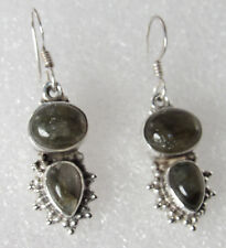 vintage Sterling silver Dangle Green Aventurine Stone Bali Earrings