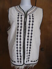 Free People Women's Almond Reversible Embroidered Faux Fur Vest Medium NWT