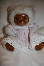 "Vintage Raikes Bear ""Sally"" Children, Collectible White, Wooden Face, Feet"
