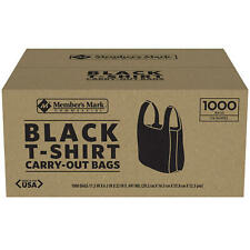Members Mark Black T Shirt Carryout Bags 1000 Ct Size 115 X 65 X 22