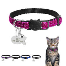 Personalized Sequins Break Away Cat Collar With Bell Safety Kitten Name Collars