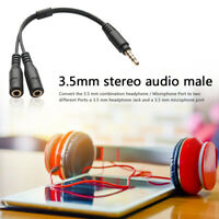 3.5mm Mic Headset Splitter Adapter 1 TRRS Male to 2 TRS Female Y Converter Cord