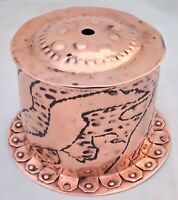 Arts and Crafts Newlyn Copper Chased String Box Flanged Base Cornish c 1900