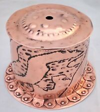 Arts and Crafts Newlyn Copper Repousse String Box Flanged Base Cornish c 1900