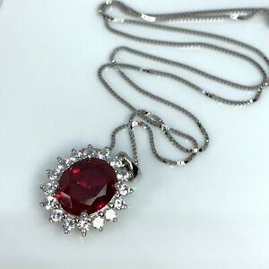 Created Red Ruby Sterling Silver Pendant & Chain 6.33ctw JTV NOH035