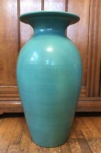 "Vintage Bauer Large Pottery Fred Johnson Turquoise Green Baluster Vase 18 3/4"" T"