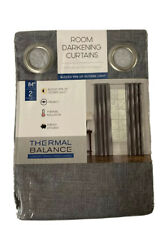 "2 Thermal Balance Room Darkening Curtains Panels - 84"" Grey Gray Blackout - Open"
