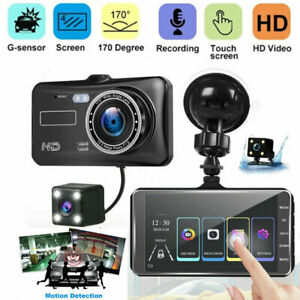 """4"""" In Car Camera Recorder Dual Front and Rear HD 1080P Dash Cam Night Vision US"""